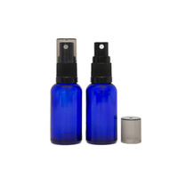 30ml Cobalt Blue Glass Spray Bottle, Black Plastic Top