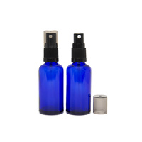 50ml Cobalt Blue Glass Spray Bottle, Black plastic Top