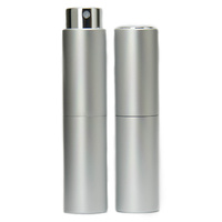 Perfume Atomizer, Silver, 8ml Twist Top Spray Bottle In Aluminium Cover