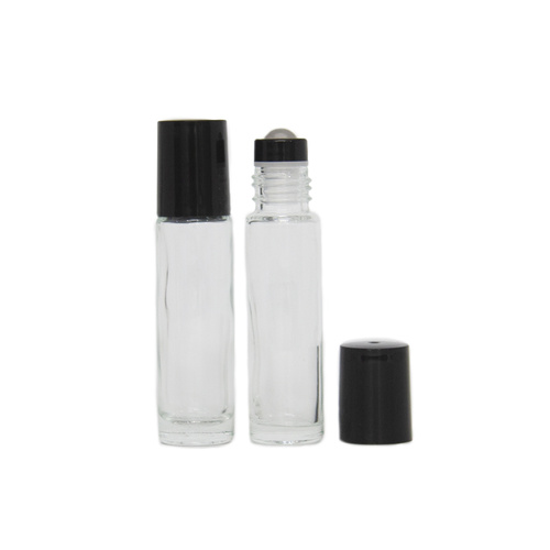 ##BULK## 150 x 10ml (Thick Glass) Clear Roller Bottle, Steel Ball, Black Lid