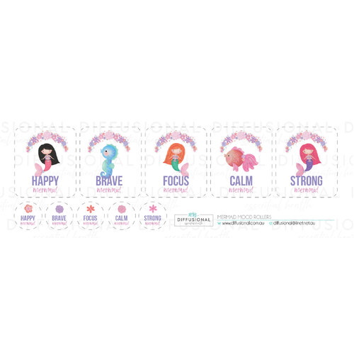 Mermaid Mood Roller Label Set, 40x35mm Premium Quality Laminated Vinyl
