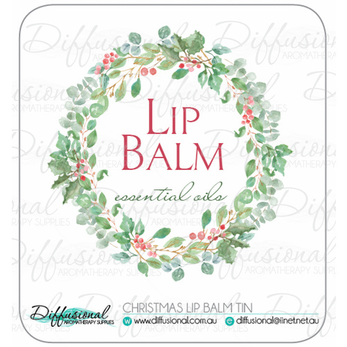 Christmas Wreath Lipbalm Tin (Single) Label, 35x35mm, Premium Quality Vinyl